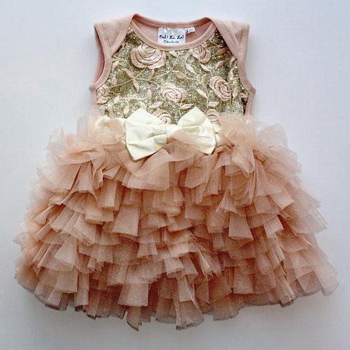 Sequin 3 Tier Baby Onesie Dream Dress Pink Champagne