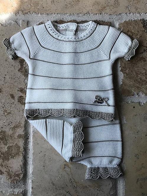 Two Piece Ivory w/ Beige Knit