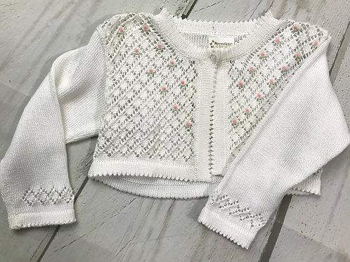 White Sweater w/ Rosettes
