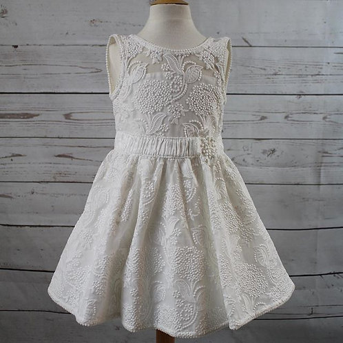 White Embroidered Tulle Dress