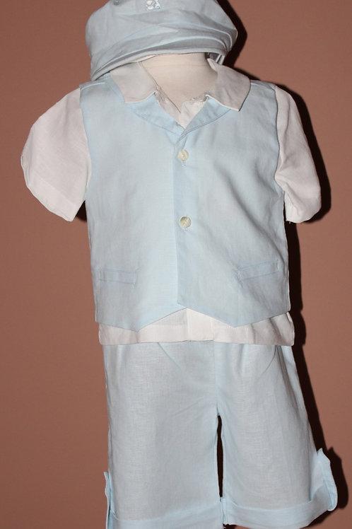 4pc Pale Blue Linen Set