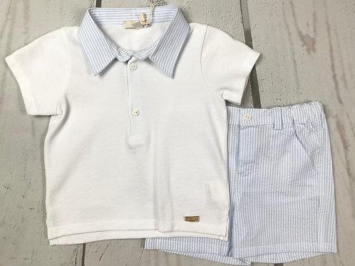 2pc Stripe w/ Collar Top and Stripe Short