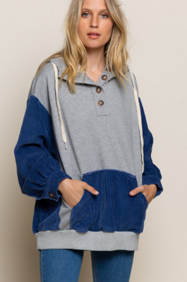 Heather Grey Multi Corduroy Sleeve