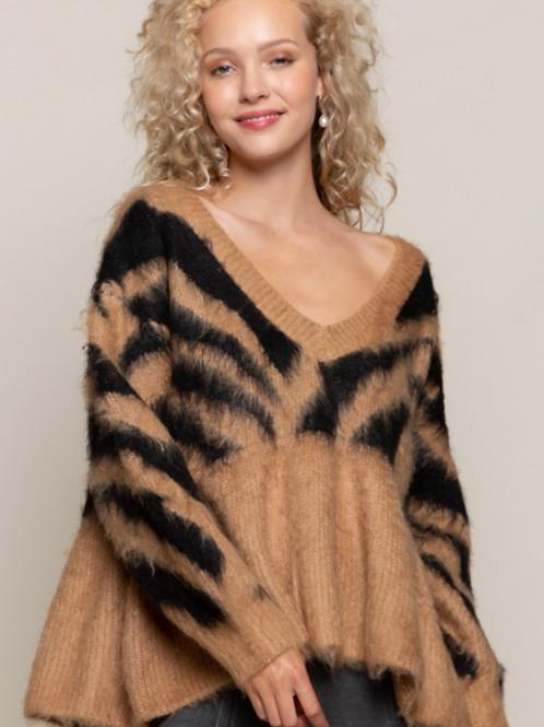 Camel / Black Zebra Sweater