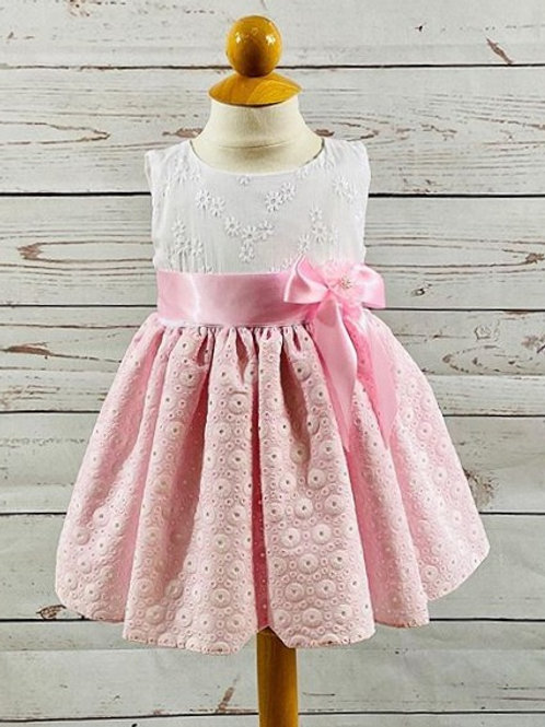 White w/ Pink Embroidered w/ Cotton Puff Skirt
