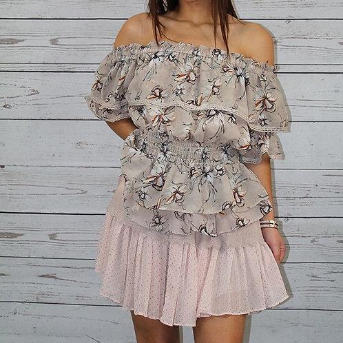 2pc Blush Floral Top w/ Skirt