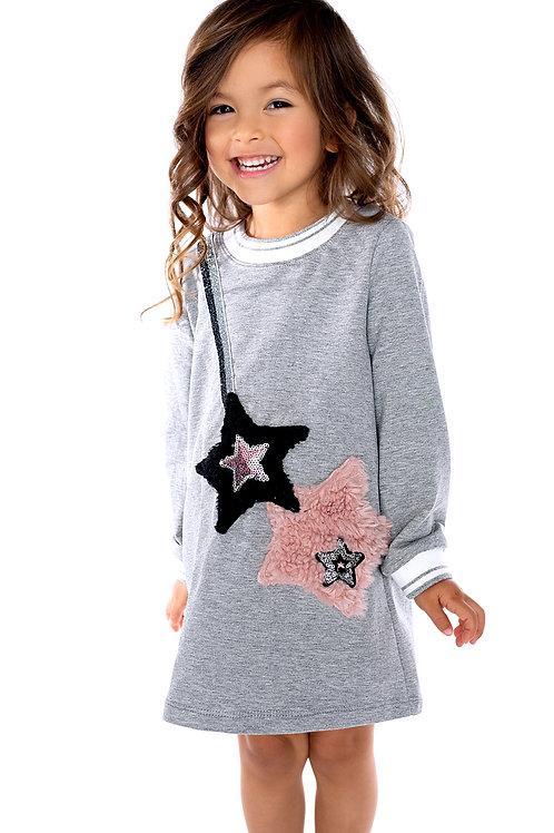 Gray Aline Sweater Dress w Decor Pocket