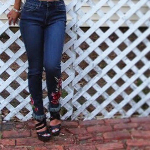 Floral Embroided Jean