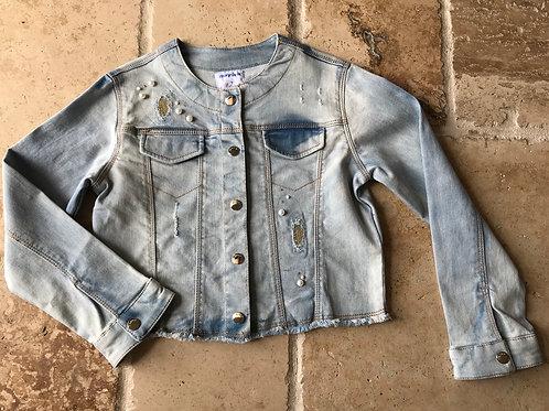 Denim Jacket w/ Pearl and Rhinestone Accents