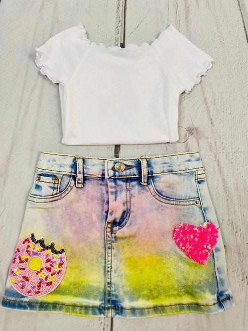 Blue Multi Rainbow Denim Skirt
