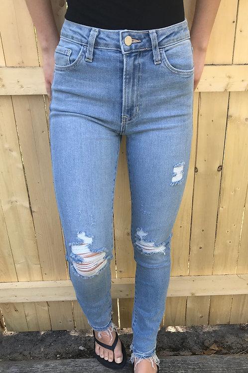 Light Denim High Rise Destructed Skinny Jean