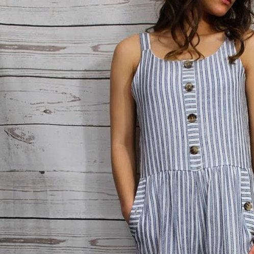 White Multi Stripe Jumpsuit w Faux Placket