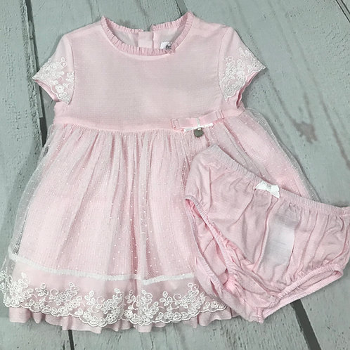 Light Pink Dress w/ White Lace Overlay