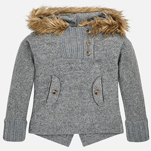 Sweater w/ Faux Fur Hood