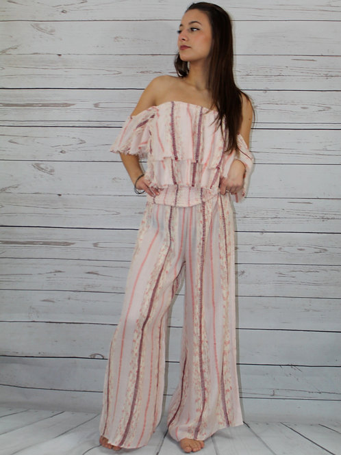 2pc Coral Textured Top and Pant Set