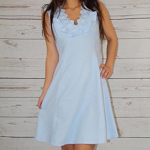 Light Blue Scallop Cut Ruffle Mini Dress