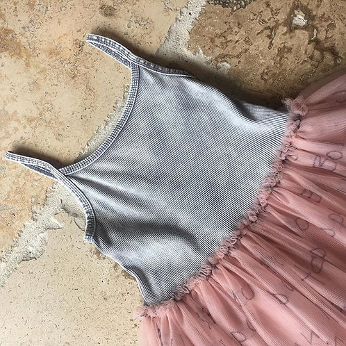Grey w/ Salmon Printed Tulle Skirt