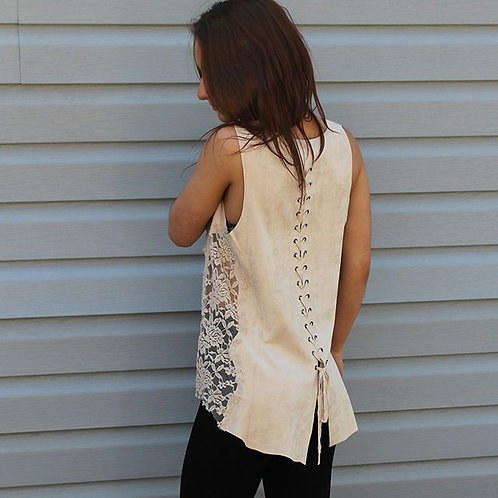 Ivory Faux Suede Top w/ Lace Side and Laceup Back