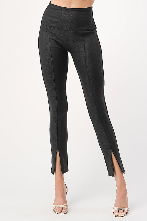 Black Zipper Hem Leatherette Leggings