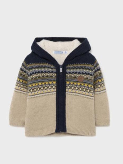 Navy/Beige Knit Zip Hoodie