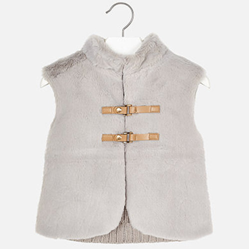 Stone Faux Fur Vest