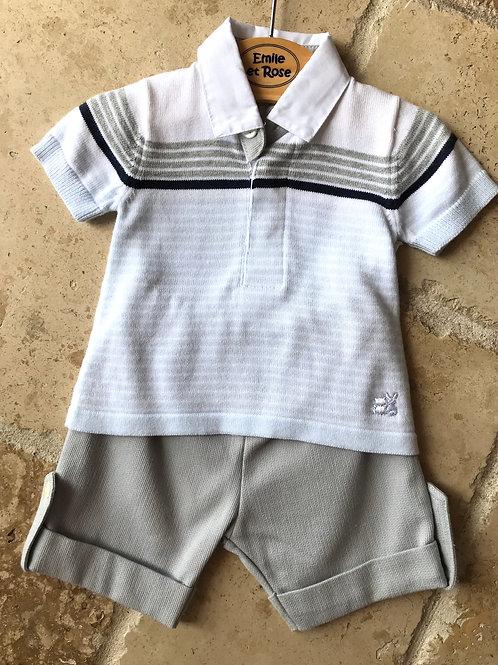2pc Light Blue Striped Top w/ Shorts