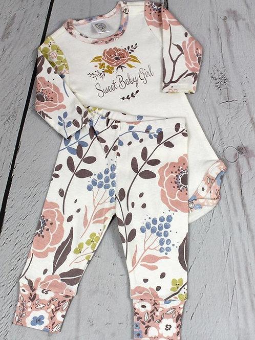 2pc Sweet Baby Girl Wild Rose Pant Set