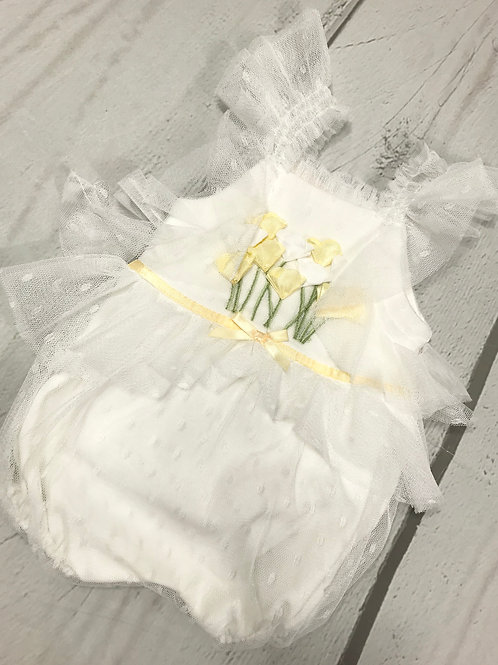 Off White Romper w/ Yellow Flowers