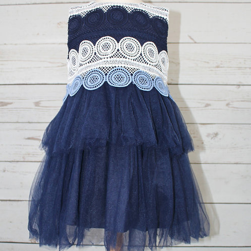 Navy Lace Layered w/ Tulle Dress