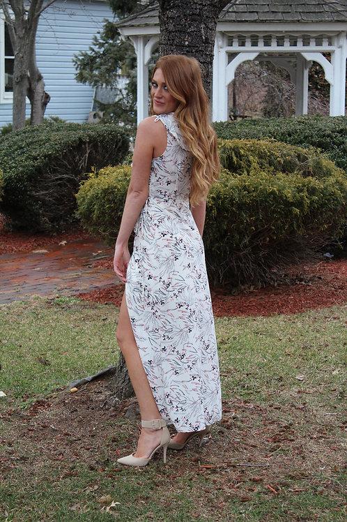 Floral White Print Wrap Maxi Dress