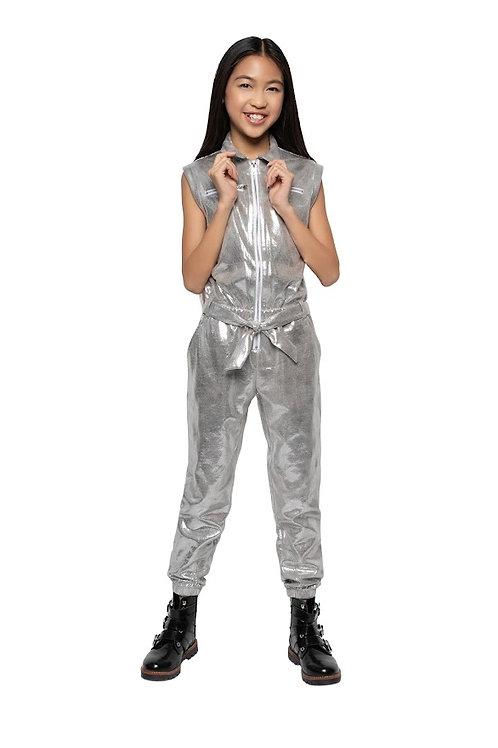 Silver Metallic Biker Jumpsuit