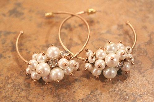 Pearl Chunk Hoop Earring