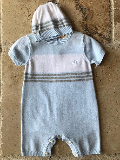 2pc Pale Blue Sweater Stripe Romper