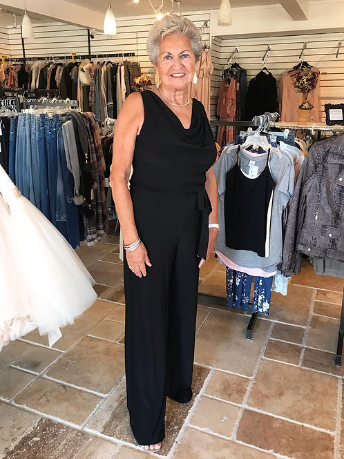 Black Solid Maxi Jumpsuit w/ Cowl Neck and Self Tie Waist