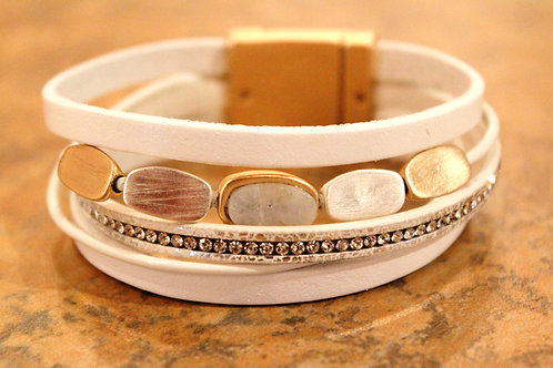 Oval Stone and Leather Bracelet