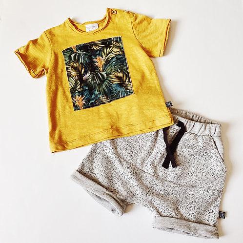 2pc Jungle Print T w Grey Shorts