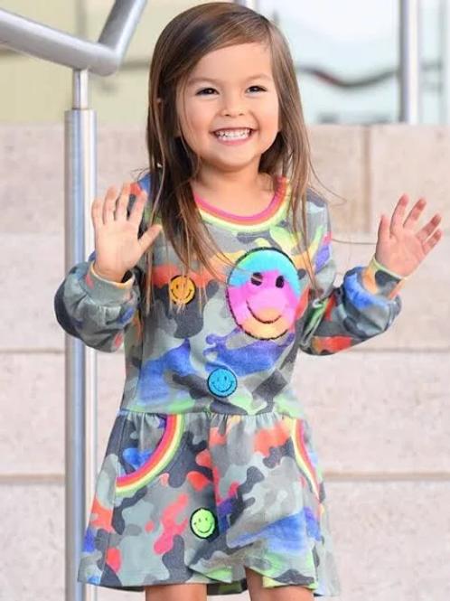 Rainbow Camo Print Dress