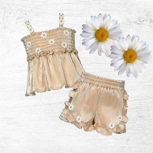 2pc Gold Smocked Top w Daisy