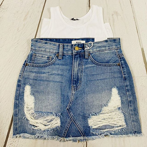 Destroyed Denim Aline Skirt