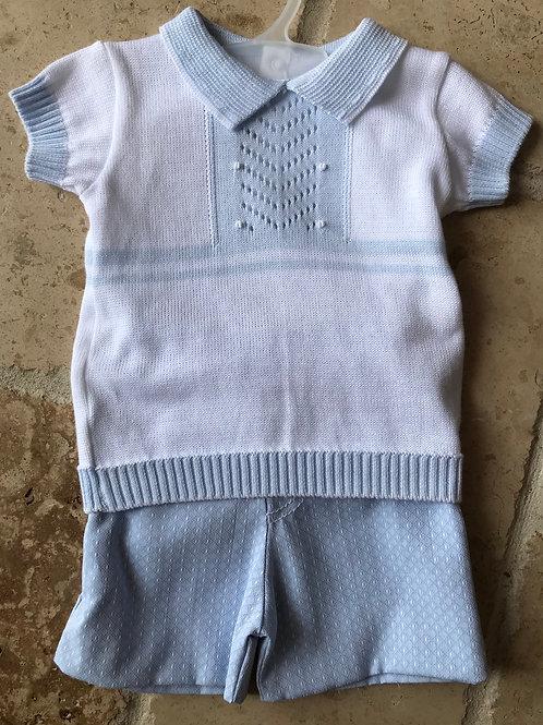 2pc White w/ Light Blue SweaterTop & Dress Pant