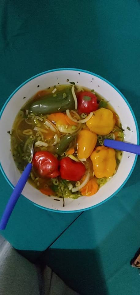 A bowl of pepper salad made especially f
