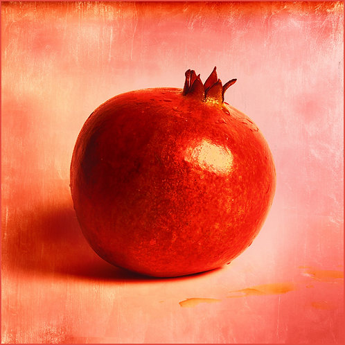 Pomegranate on Pink. 120 x 120 cm. 2017.