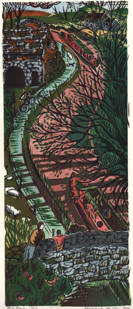 The Barn. Lino cut and paint. Limited edition of 20. 14 x 34cm