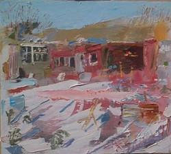 Allotment Snow. Oil on wood, 42 x 36 cm.