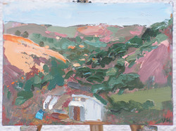 Colliery site climbing centre  oil on wood  11x8ins