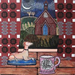 Moonlit Chapel. watercolour, ink & gouache on paper. 2017. 29.5 cm x 29.5 cm