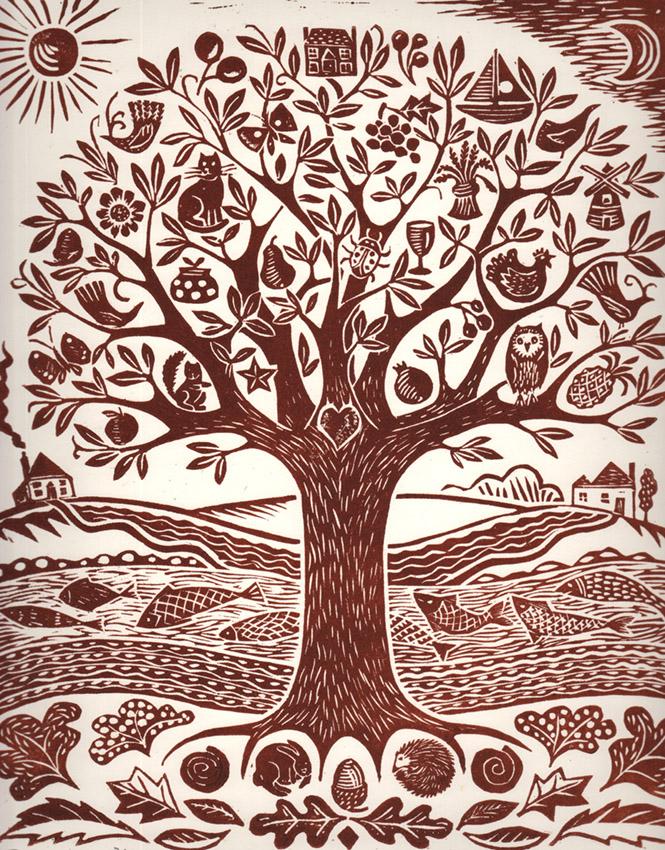 Brown Tree of Life. Linocut. edition of 30. 38cm x 30cm
