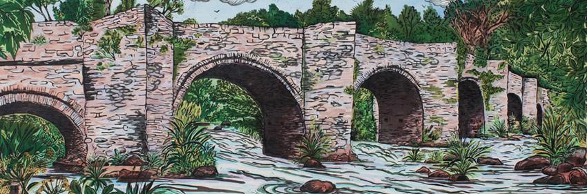 Llangynidr bridge. woodcut, linocut, paint. edition of 40. 90cm x 30cm
