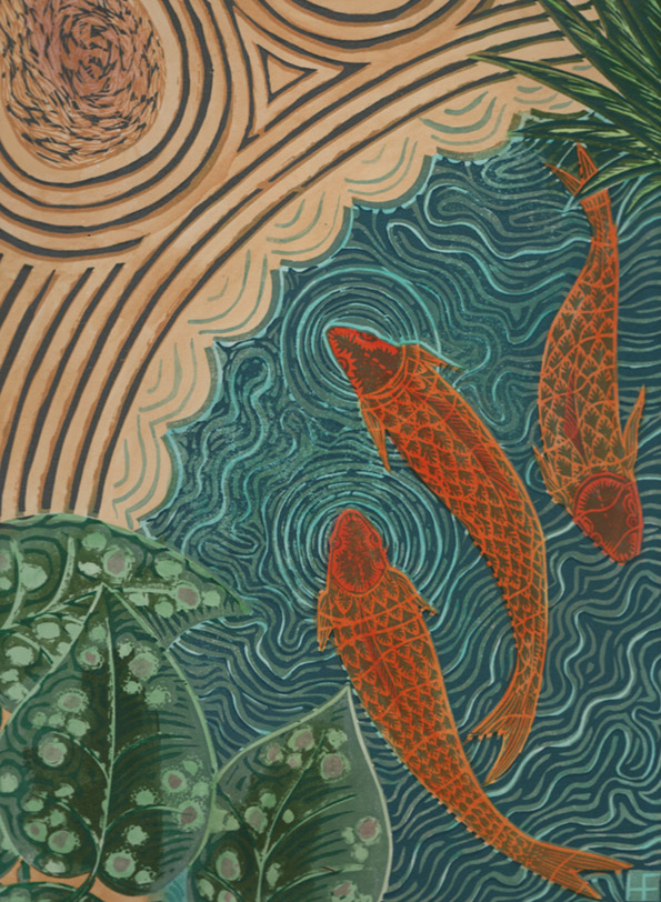 Goldfish. Linocut and paint. edition of 12. 30cm x 45cm