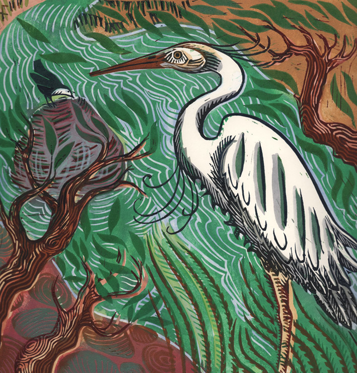 Heron 3 block lino print with paint. Limited edition of 20. 29cm x 29cm